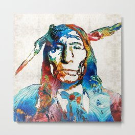 Native American Art - Warrior - By Sharon Cummings Metal Print