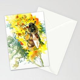 Honey Bee and Flower yellow honey bee design honey making Stationery Cards