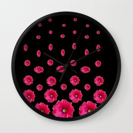 CERISE PINK HOLLYHOCKS  LOVERS BLACK PATTERNED ART Wall Clock