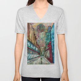 City,original painting,oil,canvas,Toronto,cityscape,abstract,art,perspective,wall artwork,colourful, Unisex V-Neck