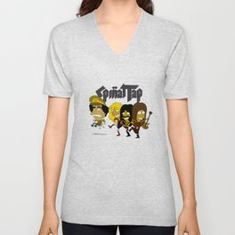 Spinal Tap kicking Muammar Gaddafi in the butt, the timeless classic Unisex V-Neck