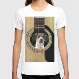 Guitar Music Instrument Jack Russell Terrier Dog #society6 #dogs T-shirt