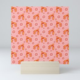 Little pretty orange swallows birds, dusty pink blooming roses vintage retro peach color pattern Mini Art Print