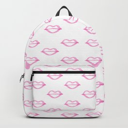 Trendy hand painted watercolor pink  cool lips Backpack