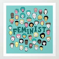 feminist Art Prints featuring Feminist by F-ordet
