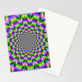 Neon Rosette in Pink Green and Blue Stationery Cards