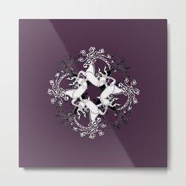 Celtic or Viking Deer Pattern - Plum Purple Metal Print