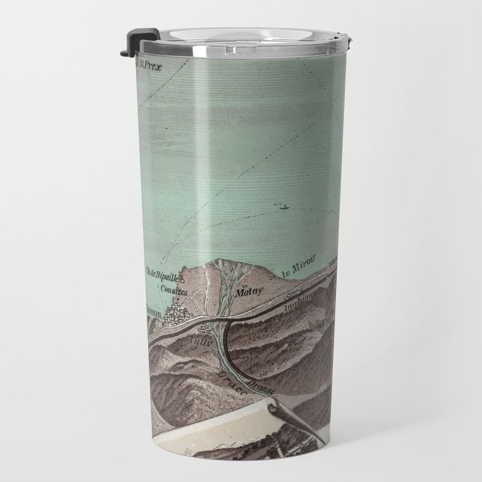 Vintage Pictorial Map of Lake Geneva (1870) Travel Mug