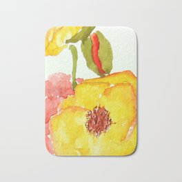 red and yellow  poppies Bath Mat