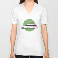ghostbusters V-neck T-shirts featuring Ghostbusters HQ by Michael Walchalk