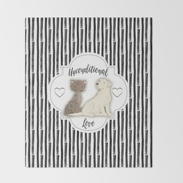 Unconditional Love Cat and Dog as Family Members Stripes Throw Blanket