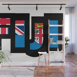 Fiji Font with Fijian Flag Wall Mural