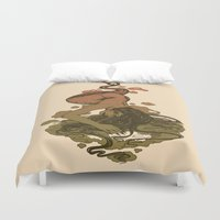 mythology Duvet Covers featuring Nereid Green and Red by Corinne Elyse