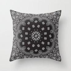 Paisley - Bandana - Black - Southwestern Art Throw Pillow