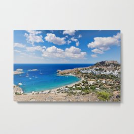 The village of Lindos with a beautiful bay, medieval castle and pictursque houses in Rhodes, Greece. Metal Print