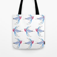 swallow Tote Bags featuring Swallow by Shelley Jayne Illustration