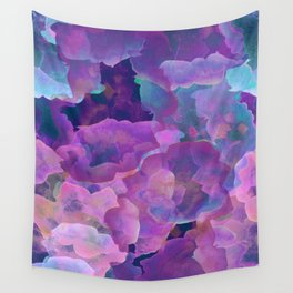 Purple, teal and blue abstract watercolor clouds Wall Tapestry