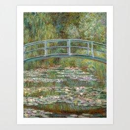 Monet, Water Lilies and Japanese Bridge, 1854 Art Print