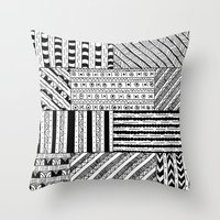 black white Throw Pillows featuring Black&White White&Black by Kaitlyn_Michelle_