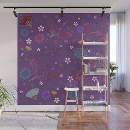 Purple Japanese kimono pattern Wall Mural