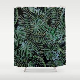 Tropical Night Palm Monstera Garden Shower Curtain