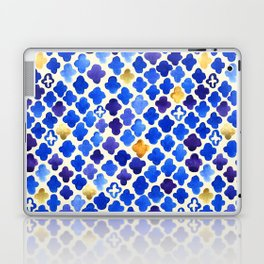 Rustic Watercolor Moroccan in Royal Blue & Gold Laptop & iPad Skin