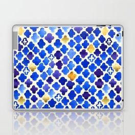 Rustic Watercolor Moroccan in Royal Blue & Gold Laptop & iPad Skin