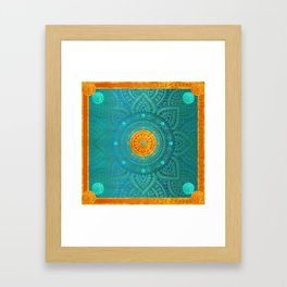"""Turquoise and Gold Mandala"" Framed Art Print"