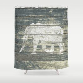 White Elephant Silhouette on Teal Wood A215C Shower Curtain