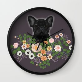French Bulldog in the Flowers Wall Clock