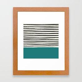 Teal x Stripes Framed Art Print
