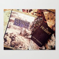 tolkien Canvas Prints featuring Tolkien Books by Apples and Spindles