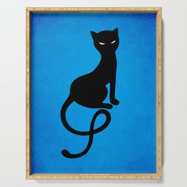 Blue Gracious Evil Black Cat Serving Tray