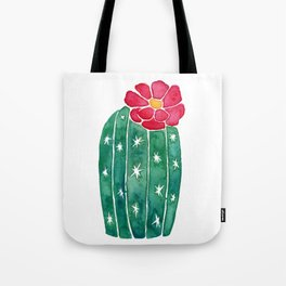 cactus with little red flower Tote Bag