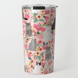 Cat floral mixed breeds of cats gifts for pet lovers cat ladies florals Travel Mug