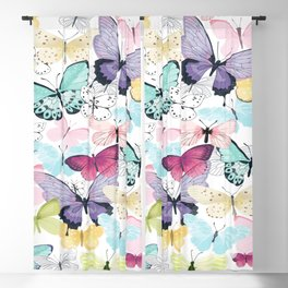 Purple Blue Yellow Pink Butterflies On White Background Blackout Curtain