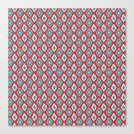 Abstract red teal green diamond pattern Canvas Print