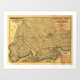 Street Map of Brooklyn, New York (1874) Art Print