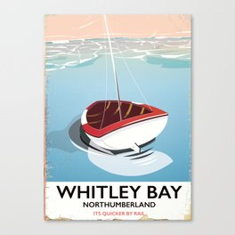 Northumberland Whitley Bay travel poster Canvas Print