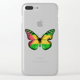 Butterfly Flag Of Sao Tome And Principe Clear iPhone Case