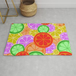 FRUITY CITRUS PATTERN BIG BOLD ORANGES LEMONS AND PINK GRAPEFRUIT WITH LIMES Rug