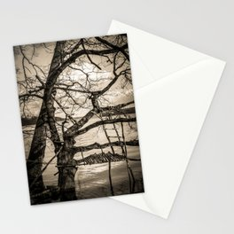Real Life Ladders Game At Möhne Reservoir Lake sepia Stationery Cards