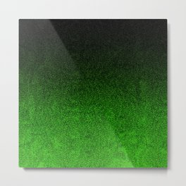 Green & Black Glitter Gradient Metal Print