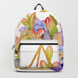 Succulent Geometry gold wire geometric frames Backpack