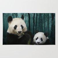 pandas Area & Throw Rugs featuring Giant Pandas by Julie Hoddinott