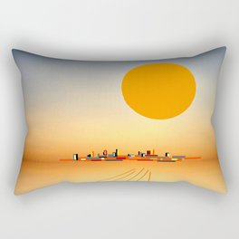 Horizon Sunset Orange Blue Rectangular Pillow