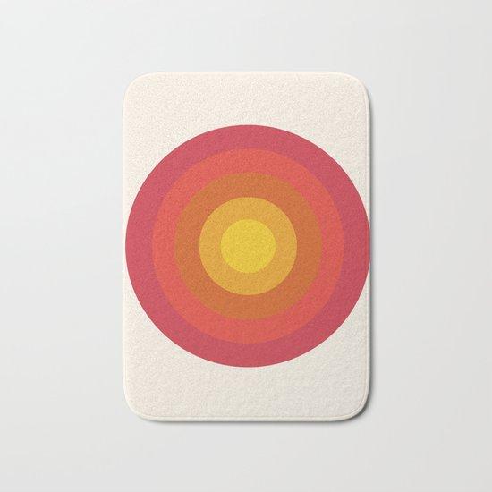 Right On - retro throwback 70s 1970s bullseye beach 70's vibes minimal art by Seventy Eight Bath Mat