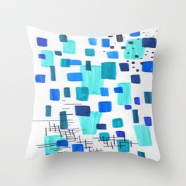 Minimalist Abstract Juvenile Colorful Aqua Blue Shapes Pattern Mid century Modern Throw Pillow