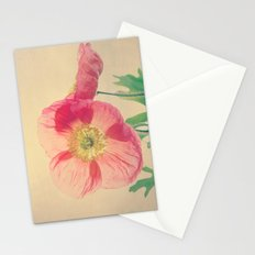 Pink Iceland Poppies in the Sun, Spring Botanical Papaver nudicaule Stationery Cards