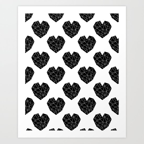Hearts black and white geometric minimal abstract valentines day gift for gender neutral him or her  Art Print